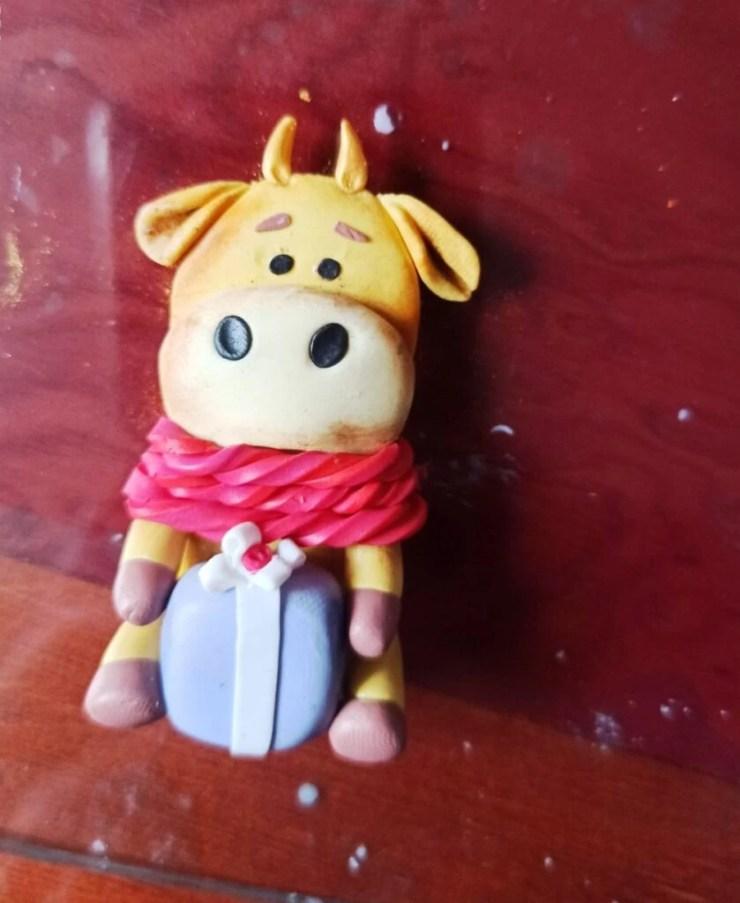20 Photo tutorial. Polymer clay mug decor: Teddy bear with bull