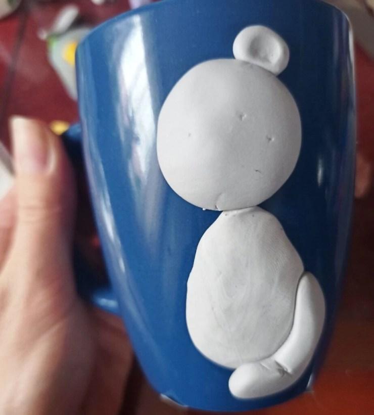 3 Photo tutorial. Polymer clay mug decor: Teddy bear with bull