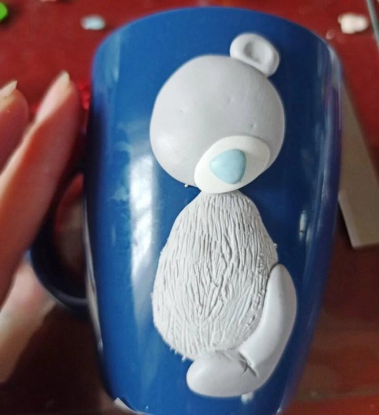6 Photo tutorial. Polymer clay mug decor: Teddy bear with bull