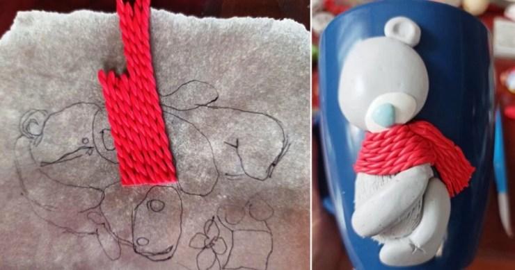 8 Photo tutorial. Polymer clay mug decor: Teddy bear with bull