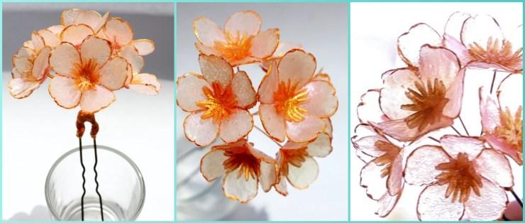 Polymer clay transparent Sakura flowers. Hair jewelry