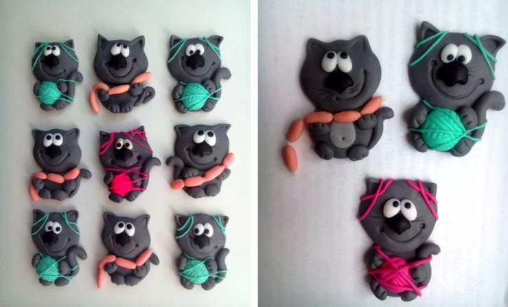 Polymer clay brooches ideas for modeling with children: Cats