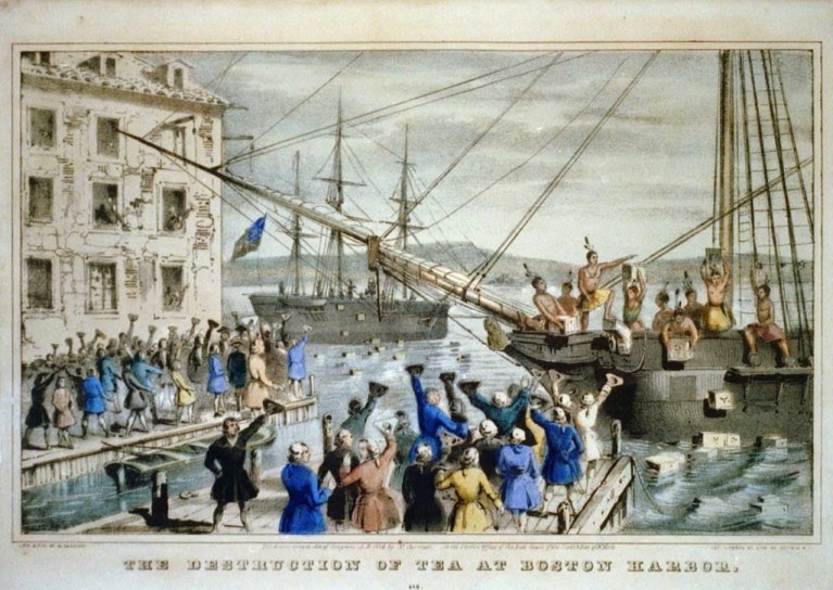 Boston Tea Party Currier painting