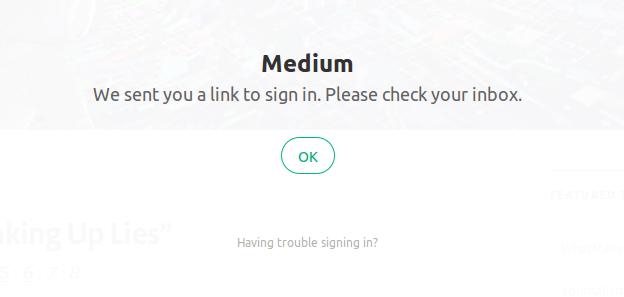 Medium login screen