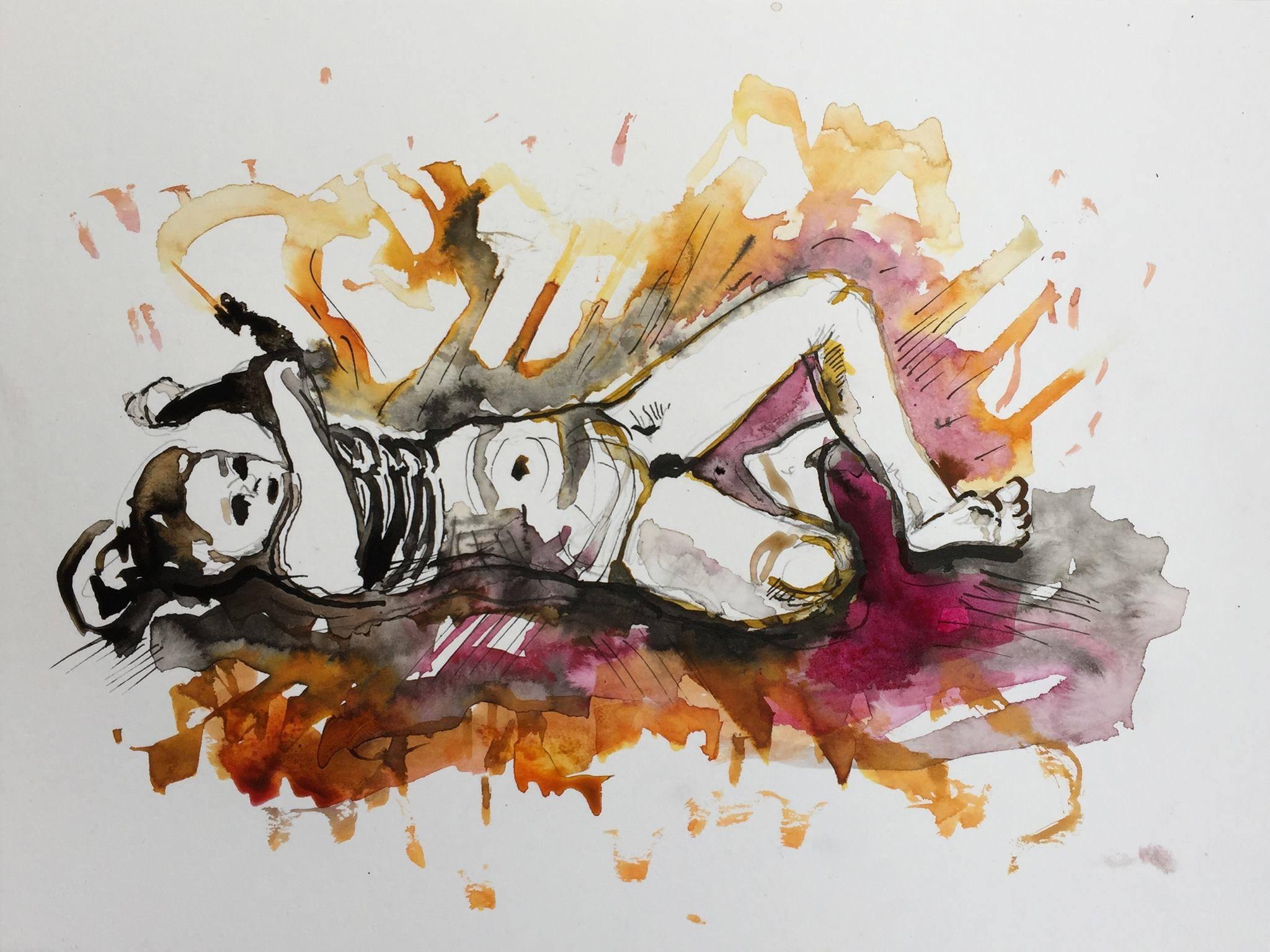 Burning, Tusche auf Papier, 24 x 32, 2106