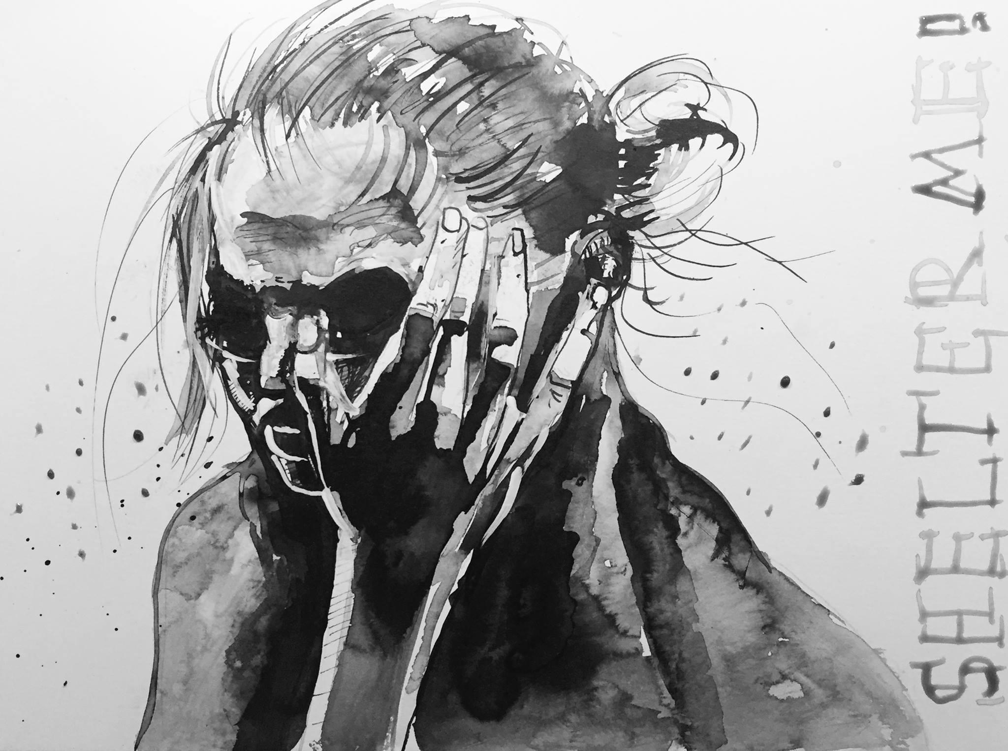 Shelter me, Tusche auf Papier, 24 x 32, 2016