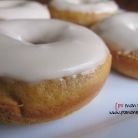 baked pumpkin donuts with coffee glaze