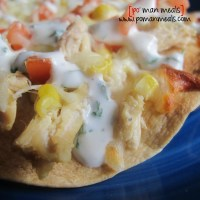 open faced chicken and grilled corn quesadillas w/cilantro lime sour cream
