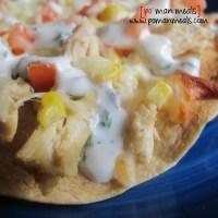 open faced chicken and grilled corn quesadillas w/cilantro lime sour cream