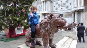Riding the Stone Lion.