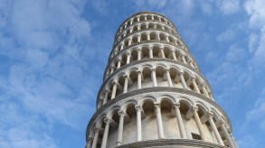 The outside of a famous tower in Pisa.