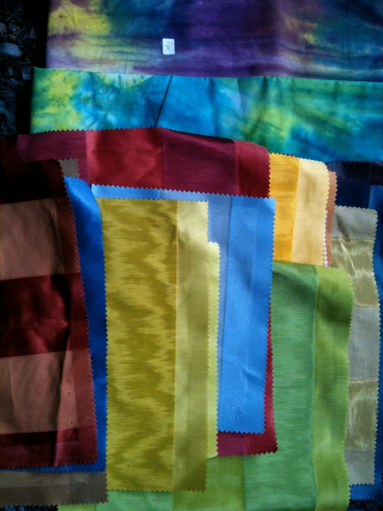 Glorious taffeta-type furnishing fabric samples from my Mother