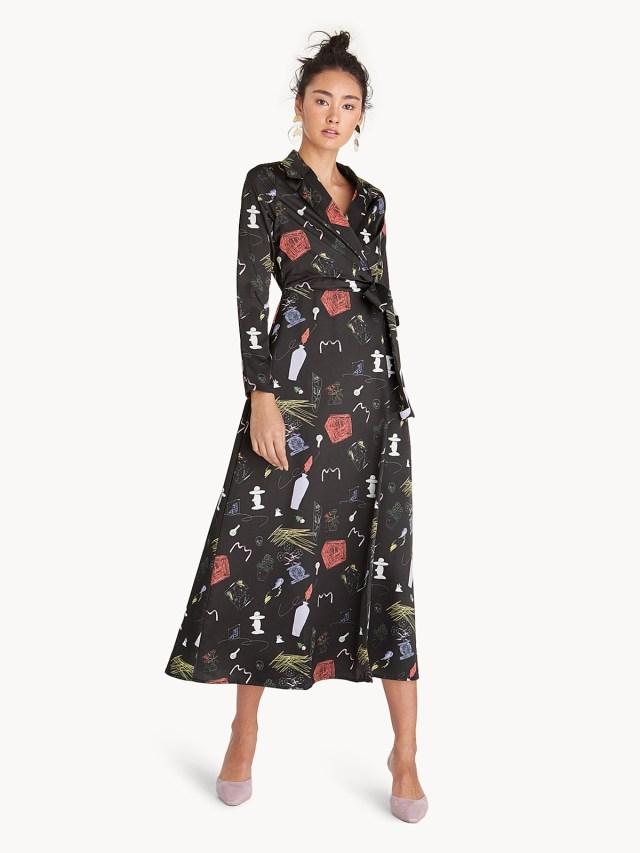 Maxi Art Illustrated Wrap Dress Black