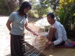 Zack's father showed how to make bamboo basket