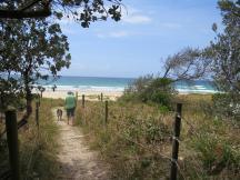 walking Rufus on Valla Beach