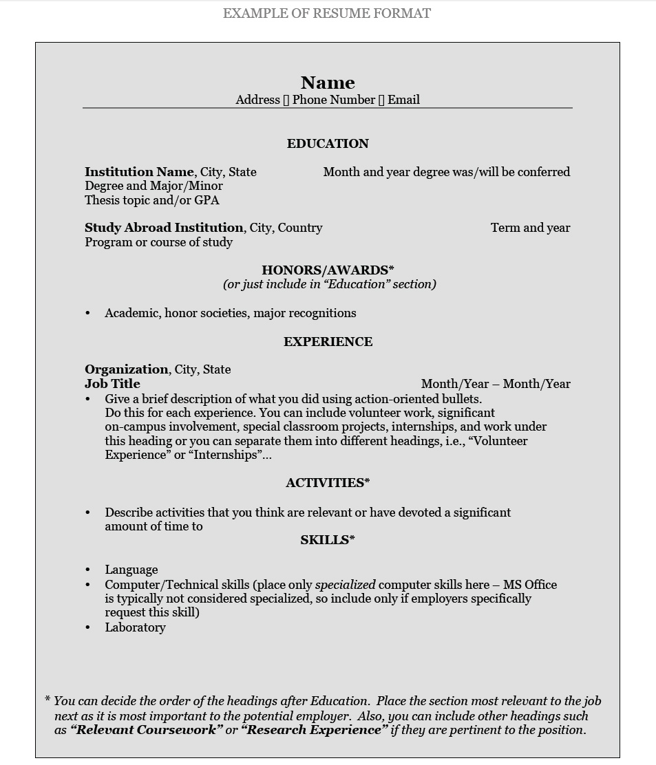 How To Write A Resumer How To Write A Resume Pomona College In Claremont California