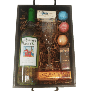 Mommys Time Out Wine Gift Basket Pinot Grigio Mothers Day Baskets