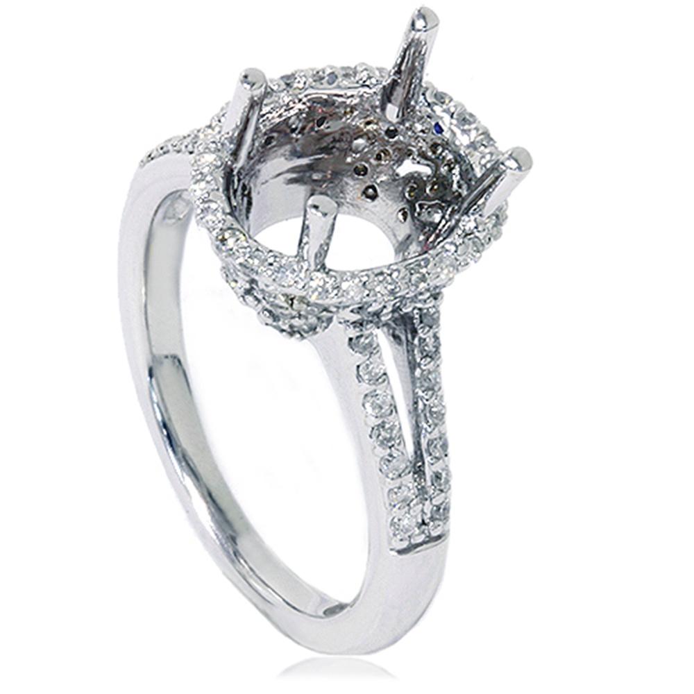 Halo Diamond Engagement Ring Setting Vintage Semi Mount
