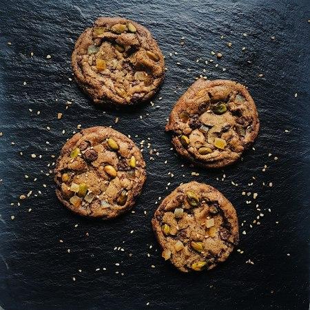 Pistachio, Orange & Tahini Choc-Chip Cookies