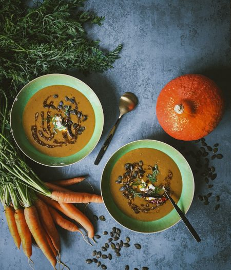 Tadka-Spiced Pumpkin & Carrot Soup