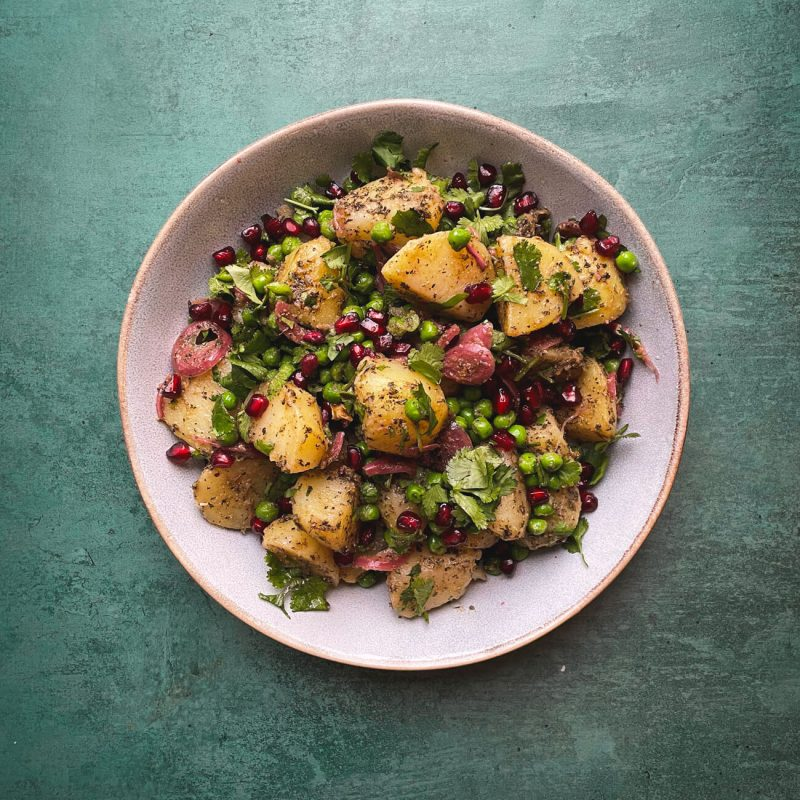 Tangy Indian Potato and Pea Salad - Aloo Chaat