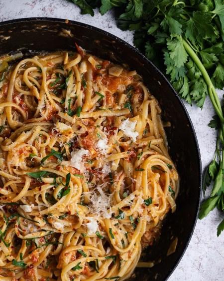 Crab and roasted cherry tomato pasta linguine