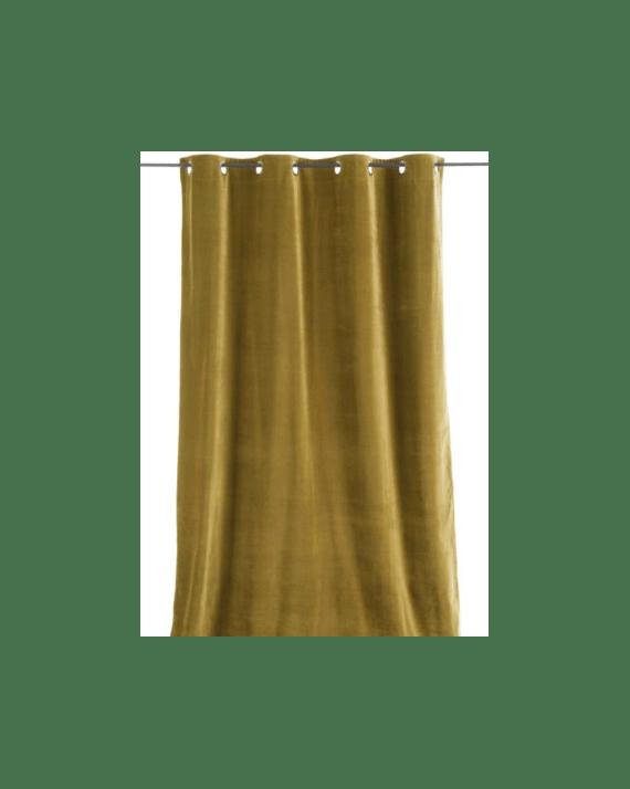 rideau en velours epais de couleur olive