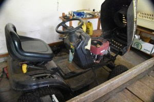 The mower in the garage