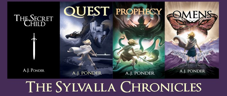 The Sylvalla Chronicles series. All the other pictures of Sylvalla facing down evil threats with a sword - but in one banner.   Fantasy humor, apparently, if young women facing down existential threats can be found to be funny.