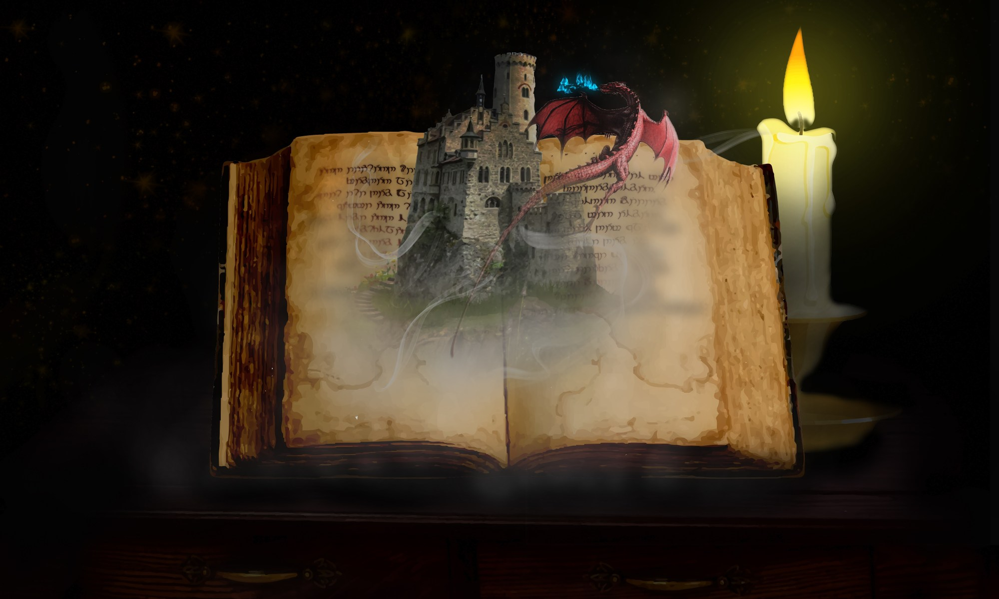 picture of an old book with a castle emerging from it and a candle in the background