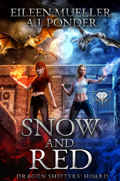 Snow and Red showing off their respective powers with the Dragonshifters Zeph and Dante flying overhead