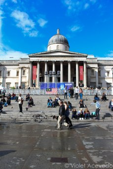 The National Gallery from Trafalgar Square. © Violet Acevedo
