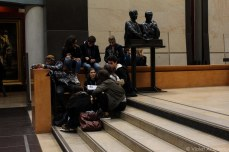 Students gathering in the lobby of the Musee d'Orsay. © Violet Acevedo