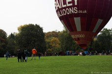 People look on as a hot air balloon is about to take off at Royal Victoria Park. © Violet Acevedo