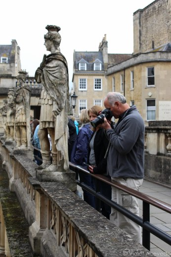 Taking pictures of the Roman Baths. © Violet Acevedo