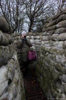 A classmate taking a picture of the recreated trenches. © Violet Acevedo