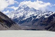 The end of the track: Mt. Cook overlooking Hooker Glacier Lake. © Violet Acevedo