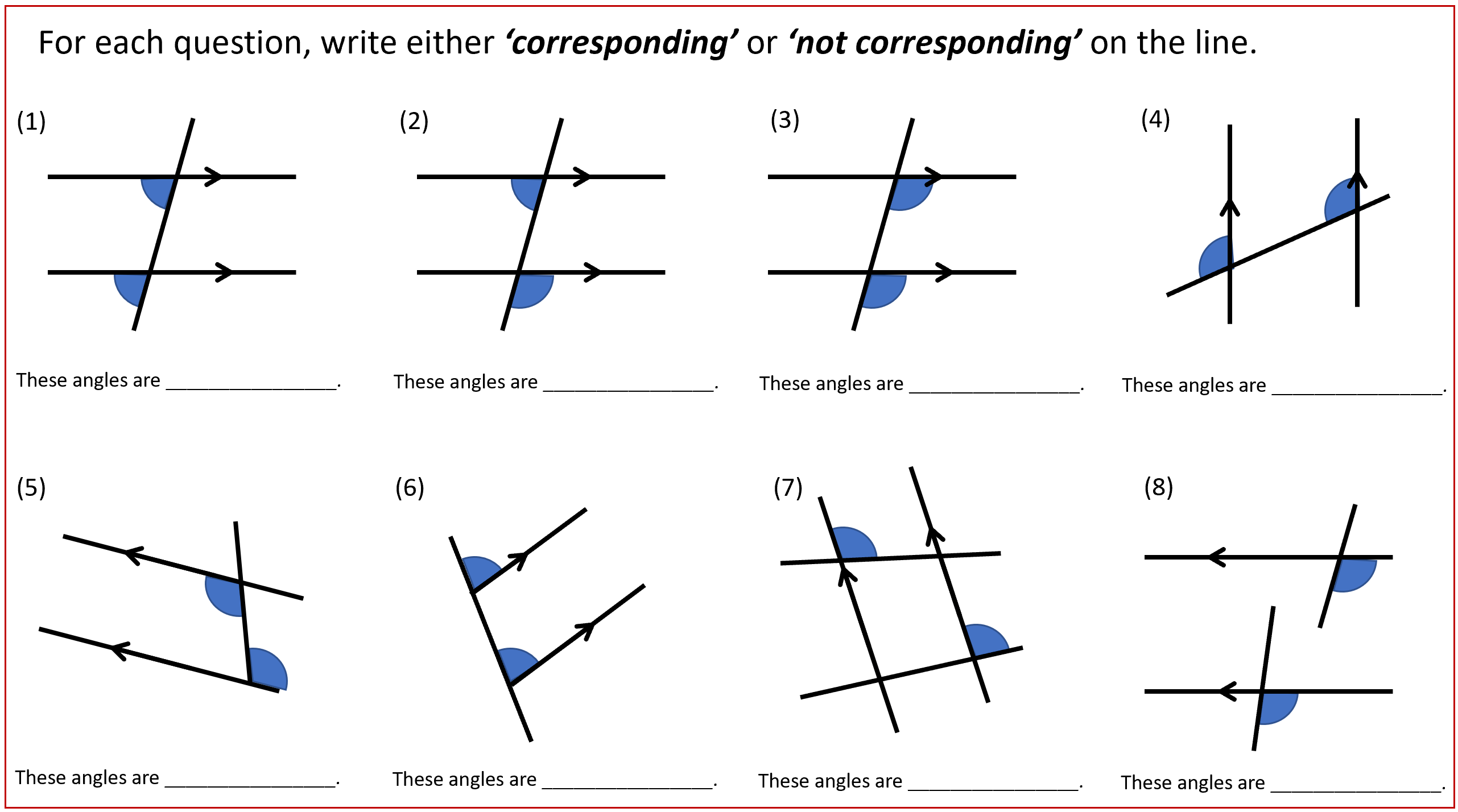 Thinking About Corresponding Angles Pondering Planning