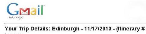 Scotland Itinerary Confirmation