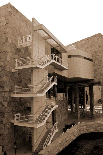 Getty Museum, California, sepia stairs
