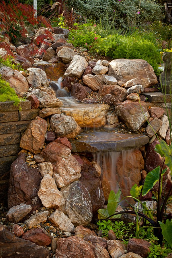 pond waterfall and landscaping