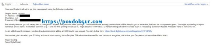 Email Akses Login SSH dari Digital Ocean
