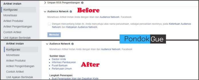 Sebelum dan Sesudah Mendaftar Audience Network