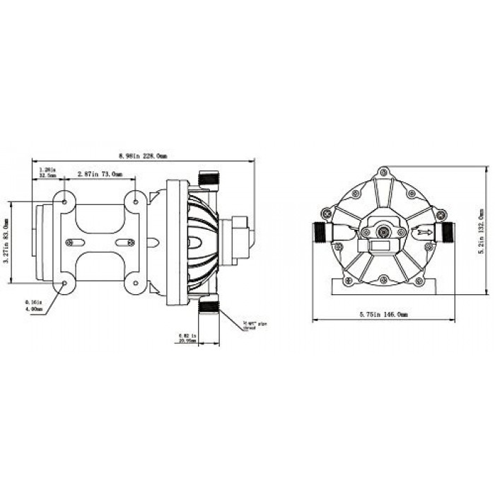 Seaflo 12v Water Pressure Diaphragm Pump 18.9 L/min 5.0