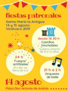 Fiestas Patronales de Vicálvaro 2019 | Santa María la Antigua | 14 y 15/08/2019 | Vicálvaro | Madrid | Cartel programa 14 de agosto