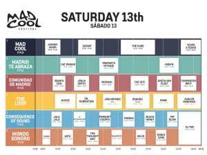 Mad Cool Festival 2019 | Pabellón 1 de IFEMA | Valdebebas | Madrid | 11-13/07/2019 | Programación Sábado 13