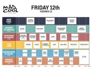 Mad Cool Festival 2019 | Pabellón 1 de IFEMA | Valdebebas | Madrid | 11-13/07/2019 | Programación Viernes 12