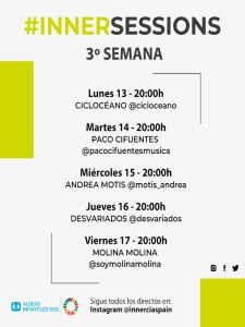 InnerSessions: 3ª semana de conciertos online | Innercia Entertainment Spain | Cartel