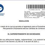 Se aprueba el reglamento para el Procedimiento de Recuperación Empresarial ante las Cámaras de Comercio.