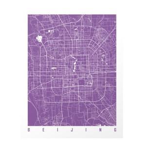 Carte Beijing, Maps art — Violet Lilas, Ponio